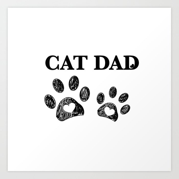 Cat Dad text  Doodle cat paw print and heart Art Print by gulsengunel