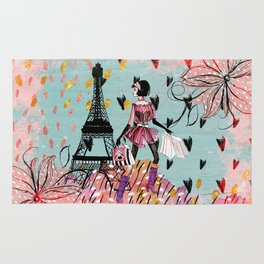 Fashion girl in Paris- Shopping at the EiffelTower Rug