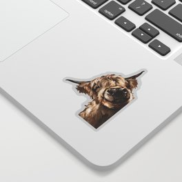 Sneaky Highland Cow Sticker