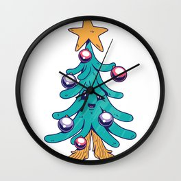 Tree Christmas Comic Wall Clock
