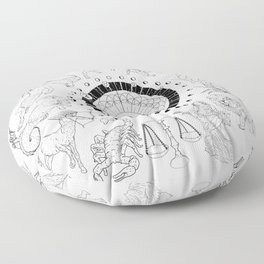 As Above, So Below - Zodiac Illustration Floor Pillow