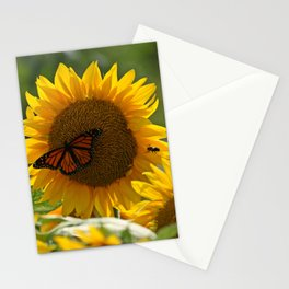 The butterfly the bee and the sunflower Stationery Cards