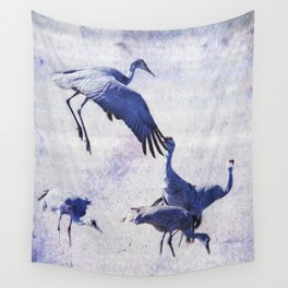 Hopping Crane Wall Tapestry