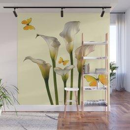 Ivory Calla Lilies Yellow Butterflies Wall Mural