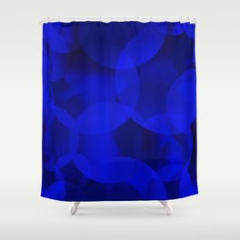 Abstract soap of ultramarine molecules and transparent bubbles on a deep blue background. Shower Curtain