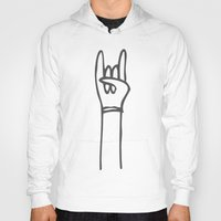 concert Hoodies featuring Rock Concert - Thrashing! by Deep Fried Lettuce