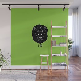 LEO Horoscope Lion Design - Light Green Wall Mural