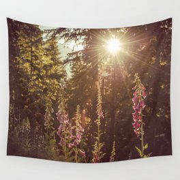 Wildflower Sunrise in the Mountains - Nature Photography Wall Tapestry