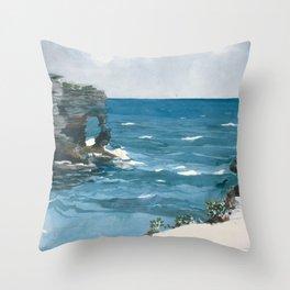 Winslow Homer - Rocky Shore, Bermuda, 1900 Throw Pillow