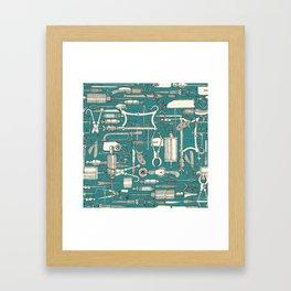 fiendish incisions blue Framed Art Print