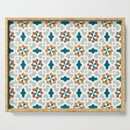 Geometric Pattern, oriental style (nature color set)  traditional morocco tile pattern Serving Tray
