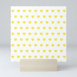 Polka dot hearts - yellow Mini Art Print