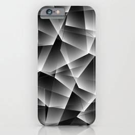 Metallic mosaic pattern of chaotic black and white fragments of glass, foil, glare and silver. iPhone Case