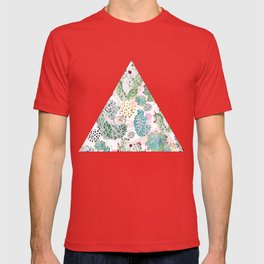Modern triangles and hand paint cactus pattern T-shirt