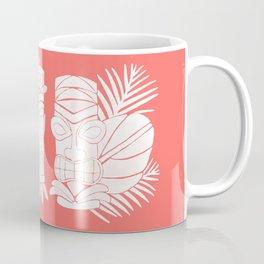 Tiki Party - White on Coral Coffee Mug