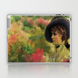 VINTAGE LADY IN THE COUNTRYSIDE Pop Art Laptop & iPad Skin