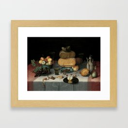 Still Life with Cheese, grapes, wine, bread and more. Finest art from the 17th century. Framed Art Print