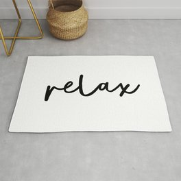Relax black and white contemporary minimalist typography poster home wall decor bedroom Rug