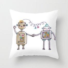 Cute robots in love II Throw Pillow