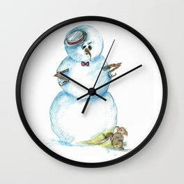 Snowman Mistaken For A Fire Hydrant Wall Clock