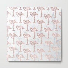 Modern rose gold geometric flamingos illustration pattern white marble Metal Print