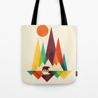 whimsical Tote Bags featuring Bear In Whimsical Wild by Picomodi