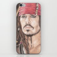 jack sparrow iPhone & iPod Skins featuring Captain Jack Sparrow by JadeJonesArt