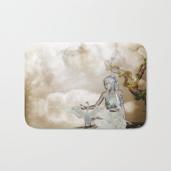 Fairy and the swan Bath Mat