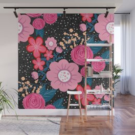 Pretty girly pink Floral Silver Dots Gray design Wall Mural