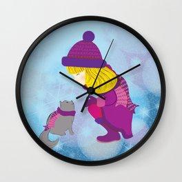 Lara with cat - Christmas Wall Clock