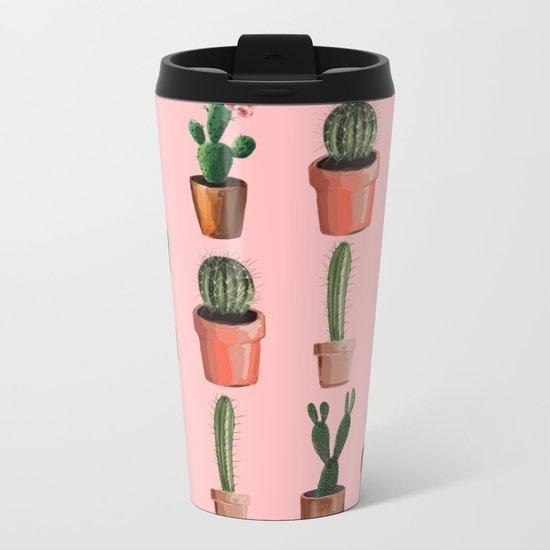 Various Cacti Pink Metal Travel Mug