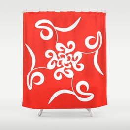 Vivid Volano Red Abstract Shower Curtain