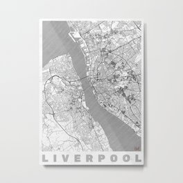 Liverpool Map Line Metal Print
