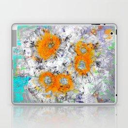 Abstract Floral Mixed Media Watercolor Ink Painting , orange & aqua Laptop & iPad Skin