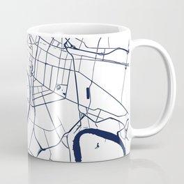 Bangkok Thailand Minimal Street Map - Navy Blue and White Coffee Mug