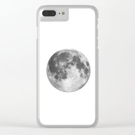 Full Moon phase print black-white monochrome new lunar eclipse poster home bedroom wall decor Clear iPhone Case