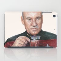 picard iPad Cases featuring Tea. Earl Grey. Hot. Captain Picard Star Trek | Watercolor by Olechka