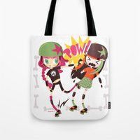 roller derby Tote Bags featuring It's Roller Derby, sweetie! by Irene Dose