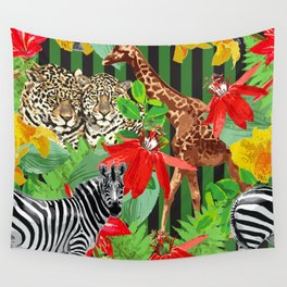 Wild Animals Jungle Pattern Wall Tapestry