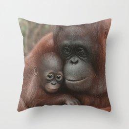 Orangutan Mother and Baby - Snuggled Throw Pillow