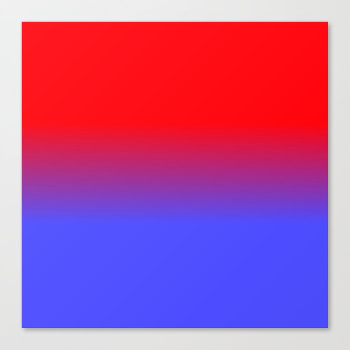 Neon Red And Bright Blue Ombre Shade Color Fade Canvas Print