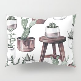 Happy Potted Cacti in Rose Gold Pots Pillow Sham