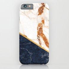 Classy Elegant White Blue Gold Marble iPhone 6s Slim Case