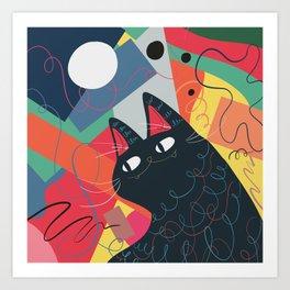 Trumpet Cat Art Print