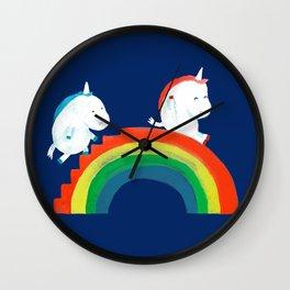 Unicorn on rainbow slide Wall Clock