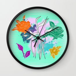 Vector Neon Florals, Abstract Background Wall Clock