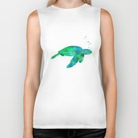 sea turtle Biker Tanks featuring Sea Turtle  by MacDonald Creative Studios