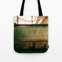 subway Tote Bags featuring Subway by Kimball Gray