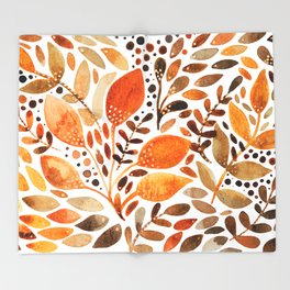 Autumn watercolor leaves Throw Blanket