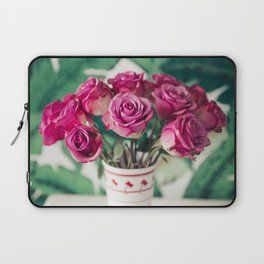 Purple Roses Against Banana Palms Laptop Sleeve